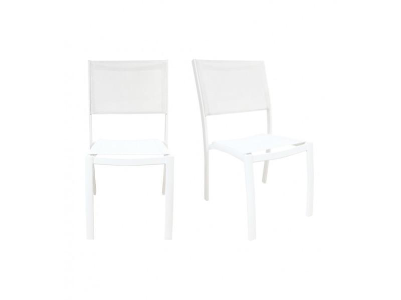 Lot de 2 chaises jardins empilables aluminium blanc - playa 3583