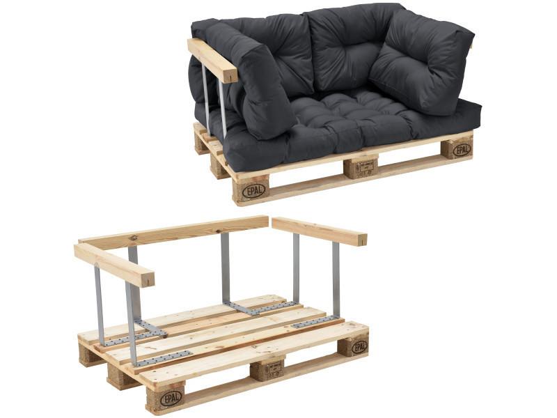 [en.casa] canapé de palette euro- 2-siège avec coussins- [gris foncé] kit complète incl. Dossier et appuie-bras