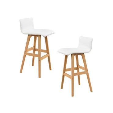 tabouret de bar en kit de 2 h tre blanc chaise de bar comptoir bar vente de bar et. Black Bedroom Furniture Sets. Home Design Ideas