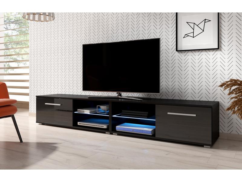 Meuble tv moderniste punes noir / noir brillant 200 cm led