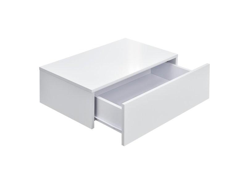 Lot de 2 tables de nuits chevet étagères murales pour chambre à coucher avec 2 tiroirs 46 cm blanc laqué helloshop26 03_0000010
