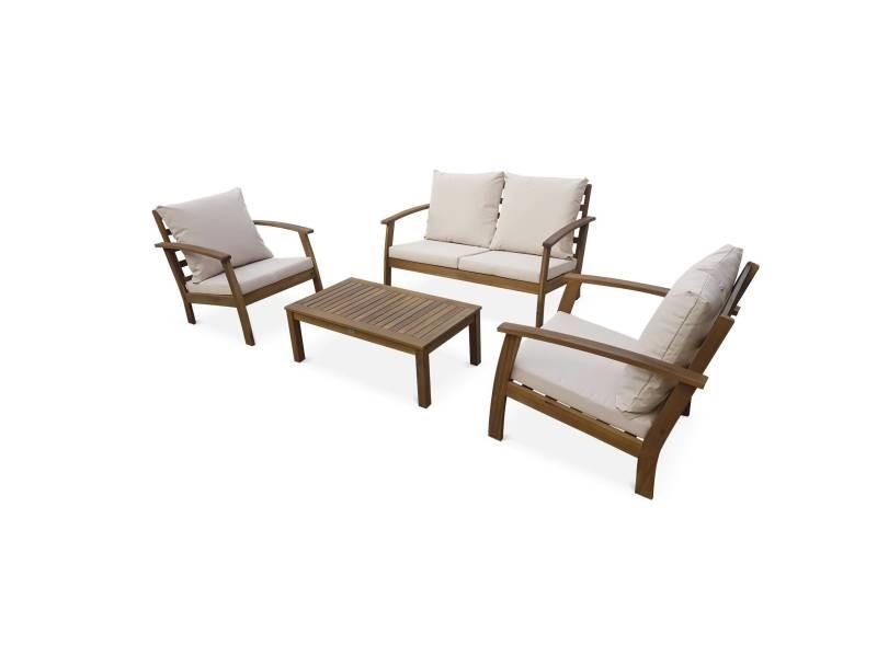 Salon de jardin en bois 4 places - ushuaïa - coussins écrus. Canapé. Fauteuils et table basse en acacia. Design