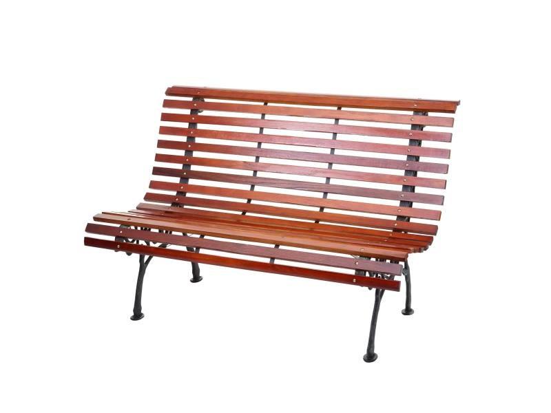 Banc de jardin hwc-f97, banc du parc, banquette en bois ~ 2 places, 122cm, 24kg, marron