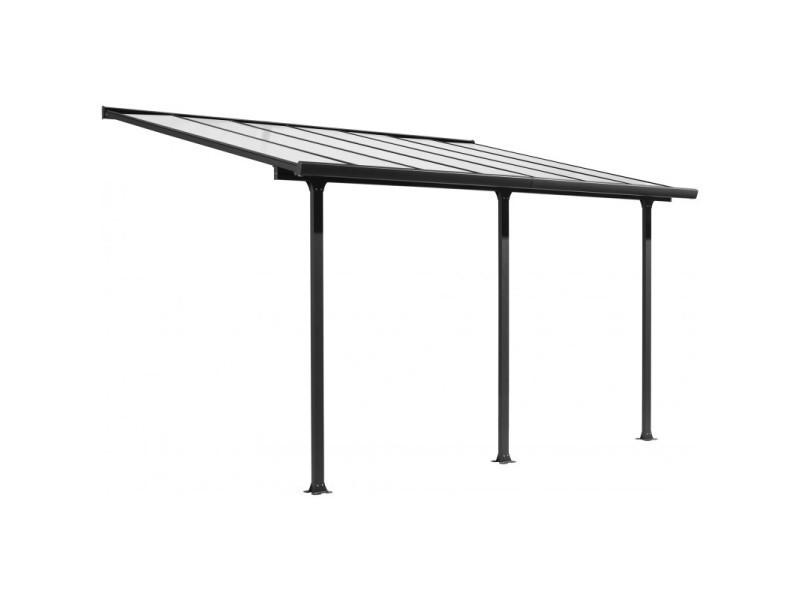 Toit de terrasse 3x5m aluminium anthracite et polycarbonate habrita - Conforama
