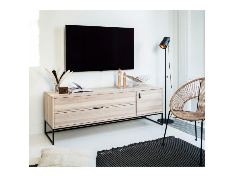 Silas meuble tv en ch ne bross couleur naturel 373651 s vente de meuble tv conforama - Meuble tv en chene naturel ...