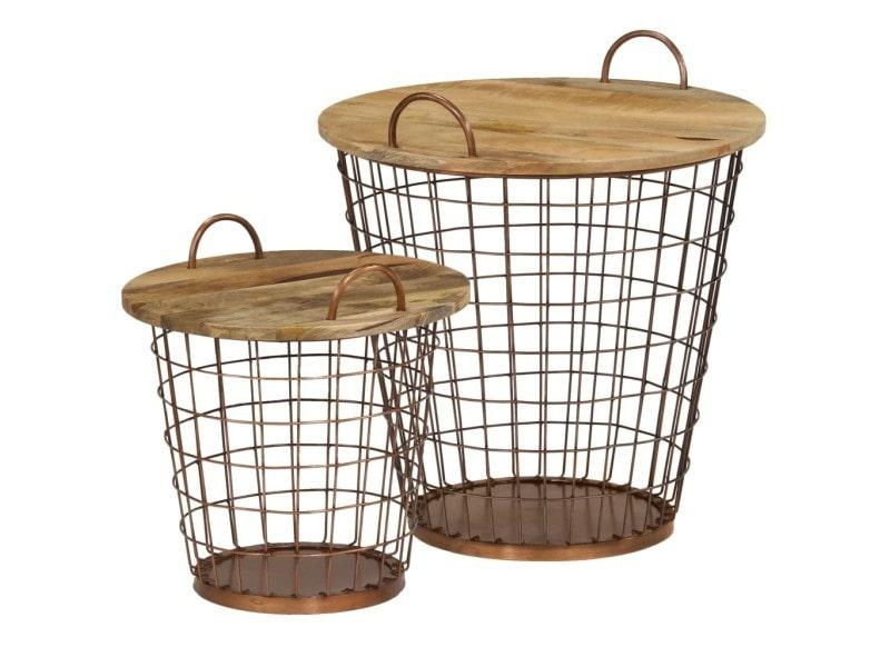 Stylé consoles categorie astana jeu de table basse/panier 2pcs bois de manguier massif 55x50cm