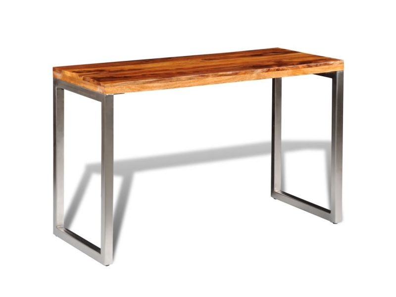 Icaverne - tables de salle à manger et de cuisine famille table de salle à manger et pieds en acier bois massif de sesham
