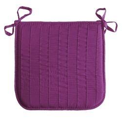 Coussin galette de chaise jacquard rayure violet 40 x 40 cm