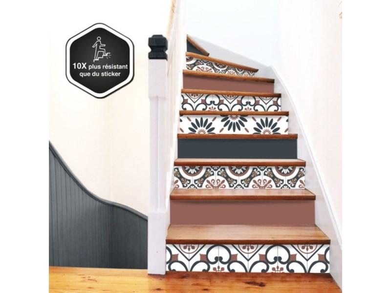Contremarche escalier pvc mix vintage 15x100cm - lot de 5