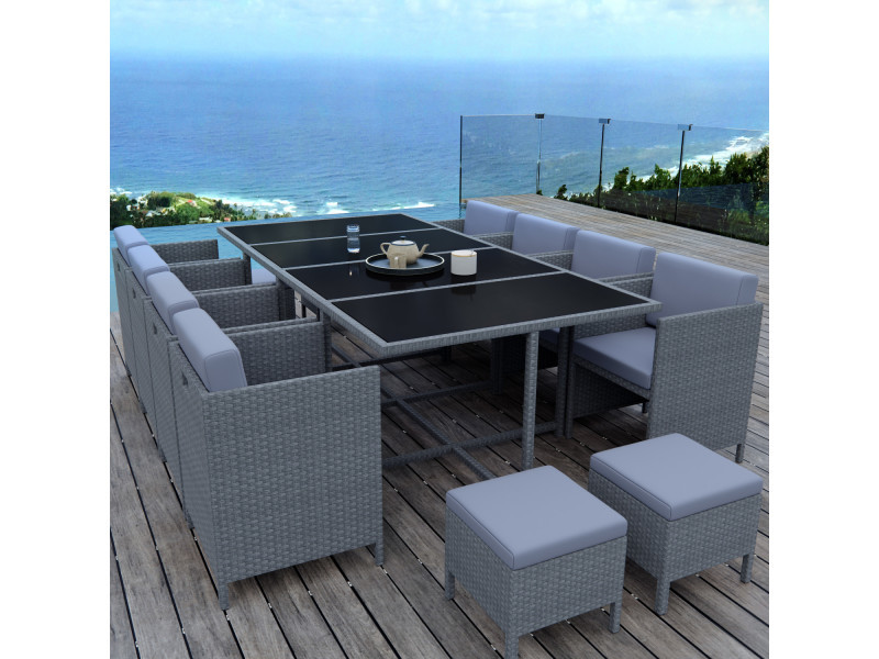 Munga 12 places - ensemble encastrable salon / table de jardin ...