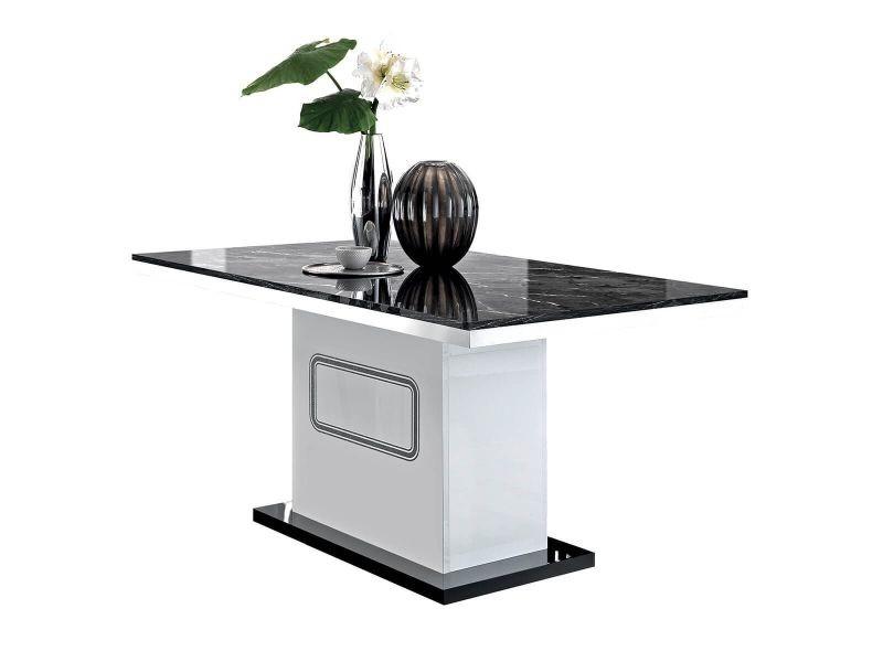 Robbie - table rectangulaire plateau effet marbre noir