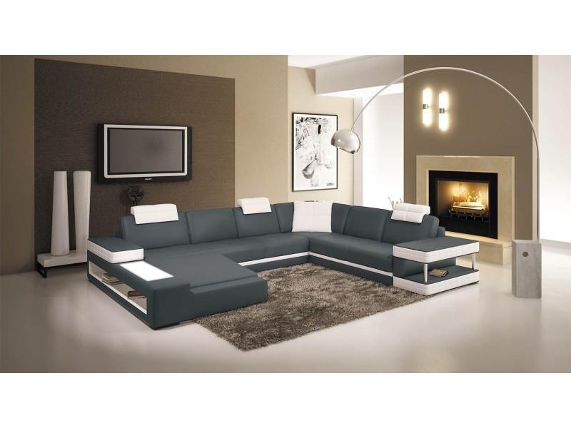 Canapé d'angle panoramique en cuir gris et blanc marcus (angle gauche)-