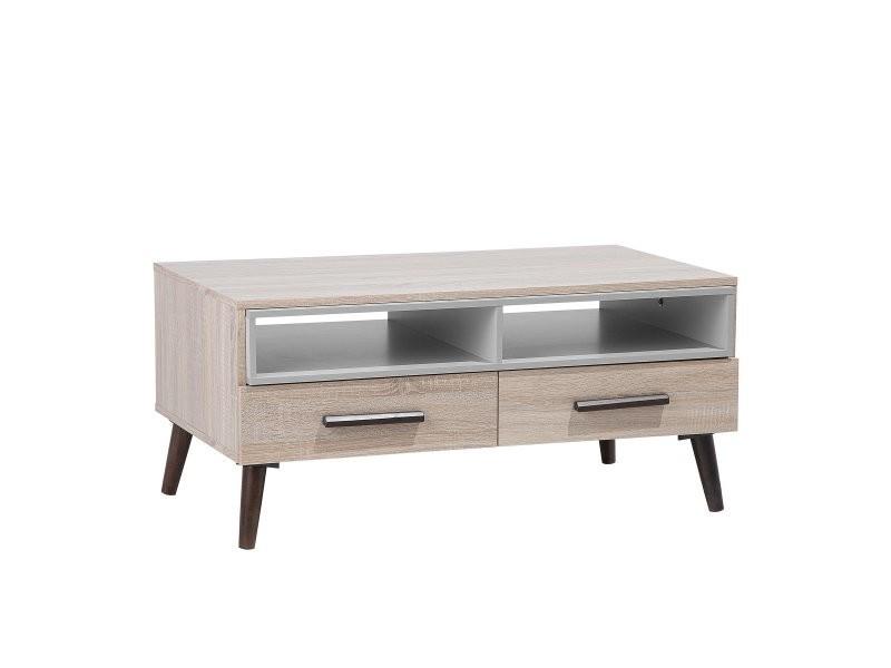 Table basse bois clair et gris alloa 111150