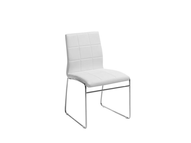 Chaise de salle à manger en simili cuir blanc kiron 66694