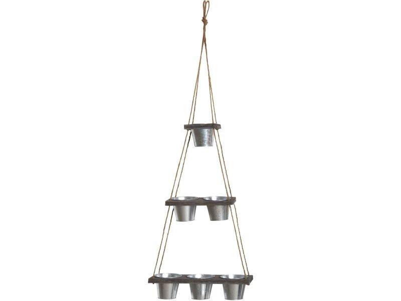 Suspension 6 cache-pots en acier galvanisé 130 cm
