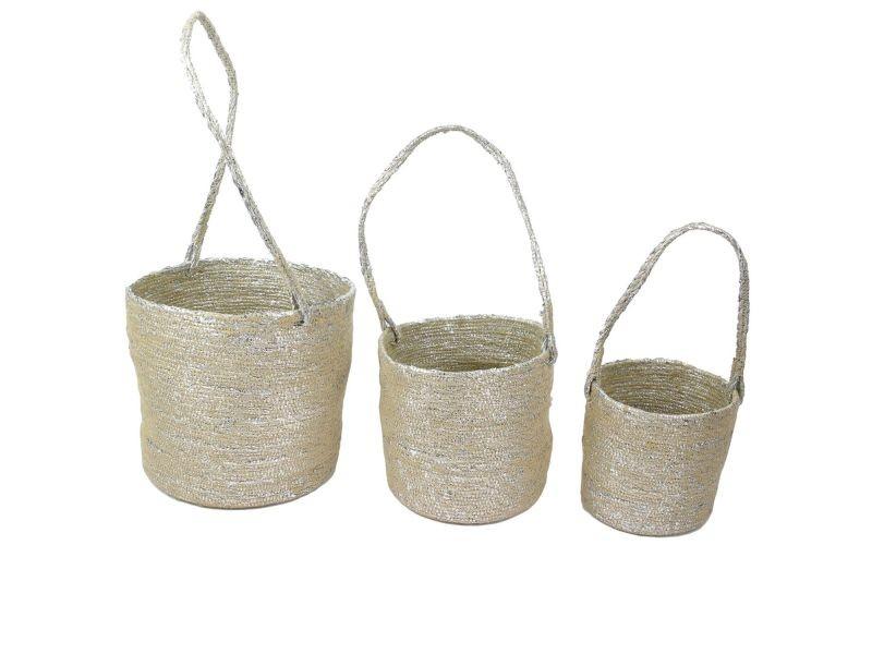 3 caches pot à suspendre panier - fibres argentées