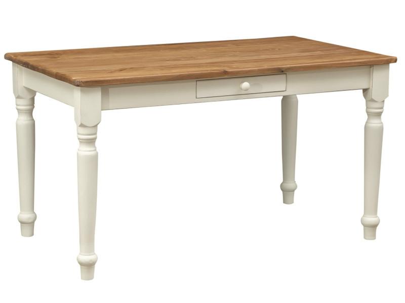 Table non extensible champêtre en bois massif de tilleul avec structure antique blanche et plateau en finition naturelle
