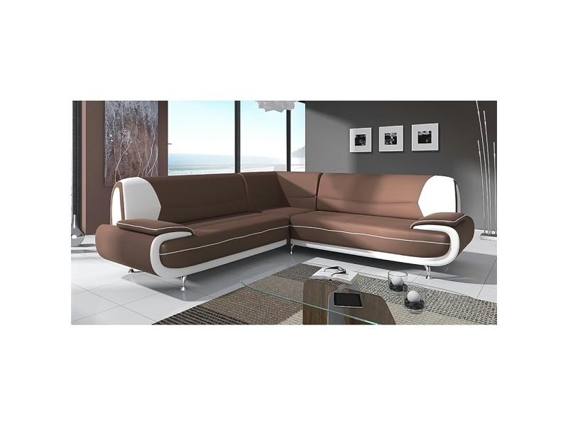Muza - canapé d'angle design en simili cuir marron et blanc