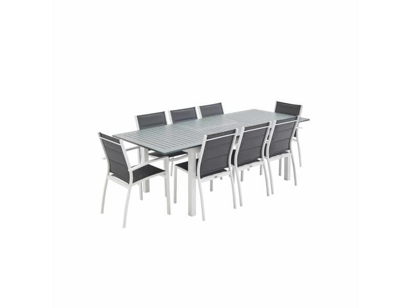 Salon de jardin table extensible - chicago blanc / gris foncé - table 175/245cm avec rallonge et 8 assises en textilène