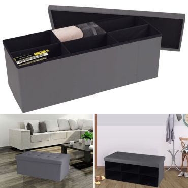 banc coffre 6 compartiments gris 100x38x38cm pvc vente de id market conforama. Black Bedroom Furniture Sets. Home Design Ideas
