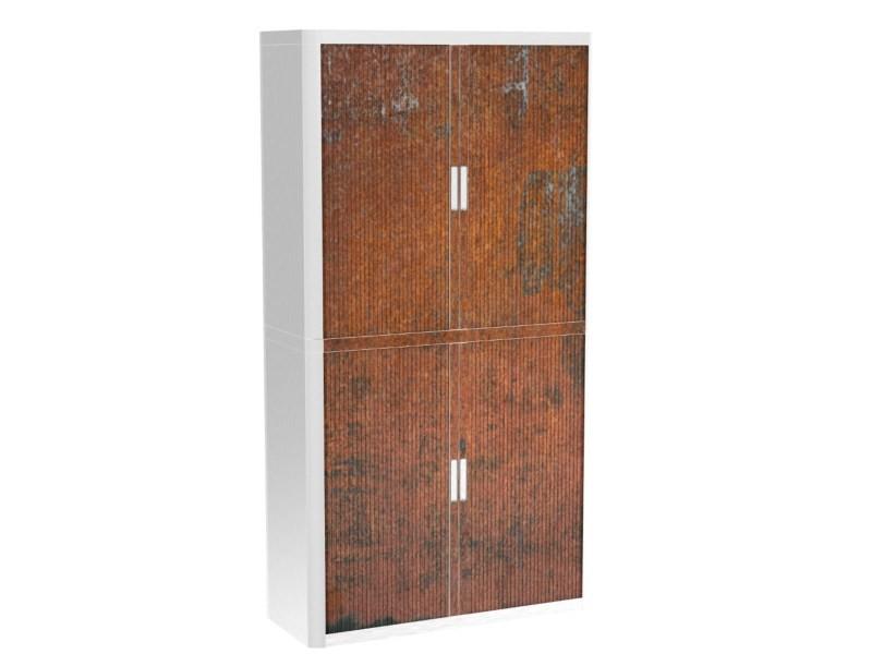 Armoire de bureau métalique porte coulissante h 2m - rouille