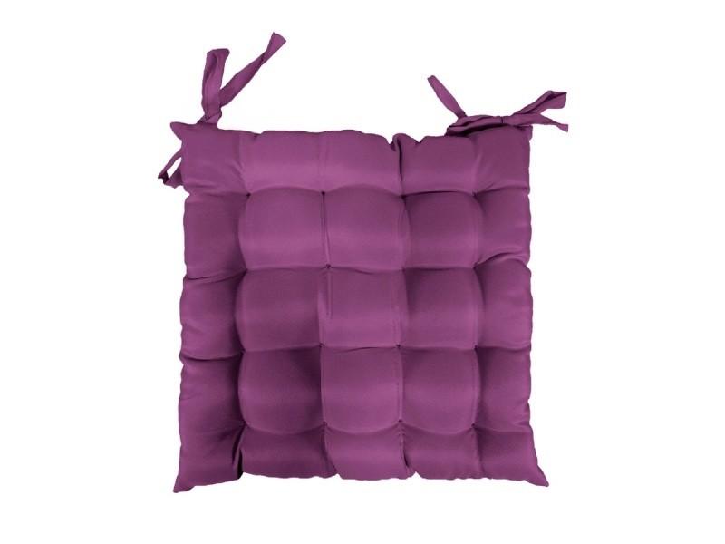 Coussin galette de chaise 40 x 40 cm prune