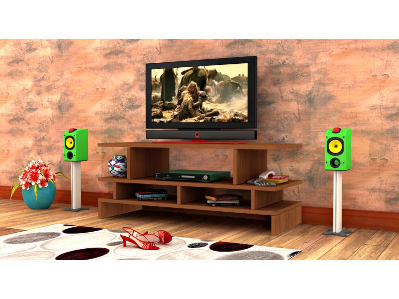 Meuble tv design twist2 motif bois noyer marron clair