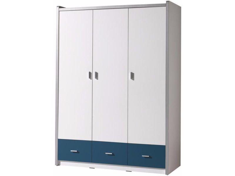 Armoire design 147 cm à 3 portes et 3 tiroirs coloris blanc et bleu ...