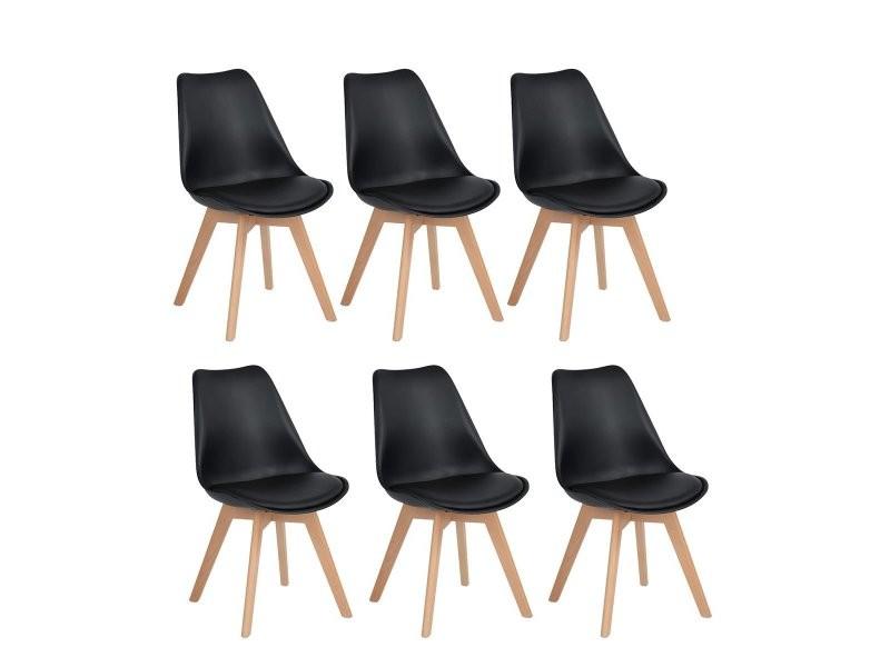 Lot de 6 chaises design contemporain nordique scandinave -tulipe chaises- pieds en bois de h¨ºtre massif - noir