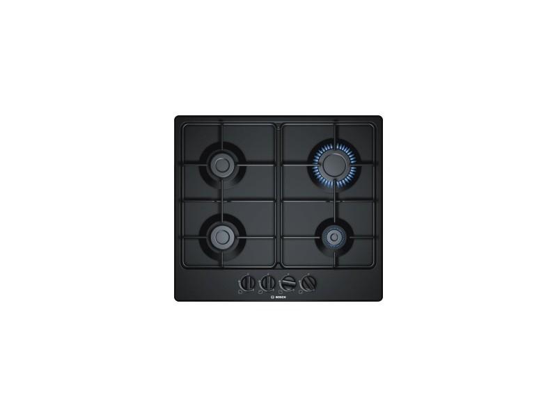 Table de cuisson gaz design - 4 foyers - 1 foyer rapide 3000w - 58cm - email - noir