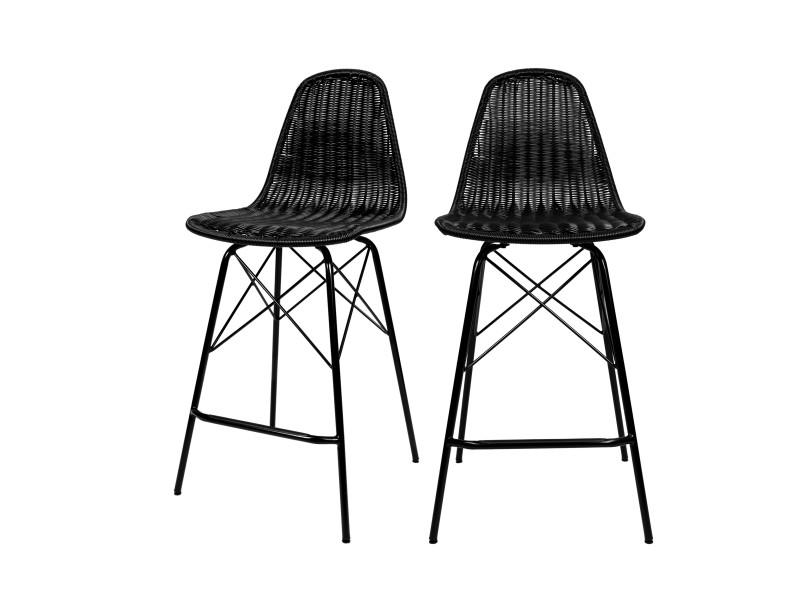 Chaise de bar tiptur en résine tressée noire (lot de 2)