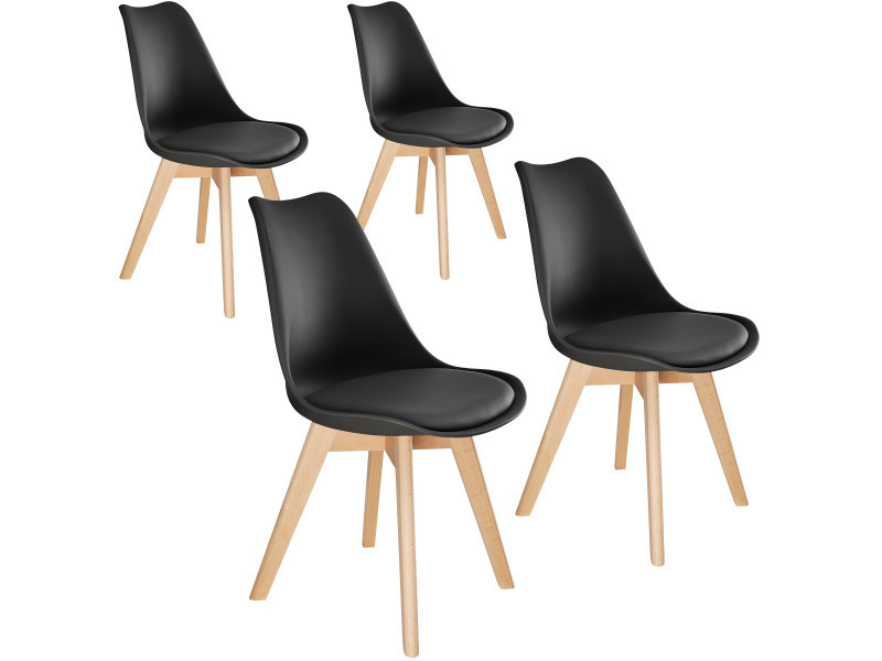 Tectake 4 chaises de salle à manger frédérique style scandinave pieds en bois massif design moderne - noir 403814