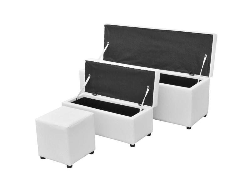 Banquette pouf tabouret meuble jeu de repose-pied de rangement cuir synthétique blanc helloshop26 3002096