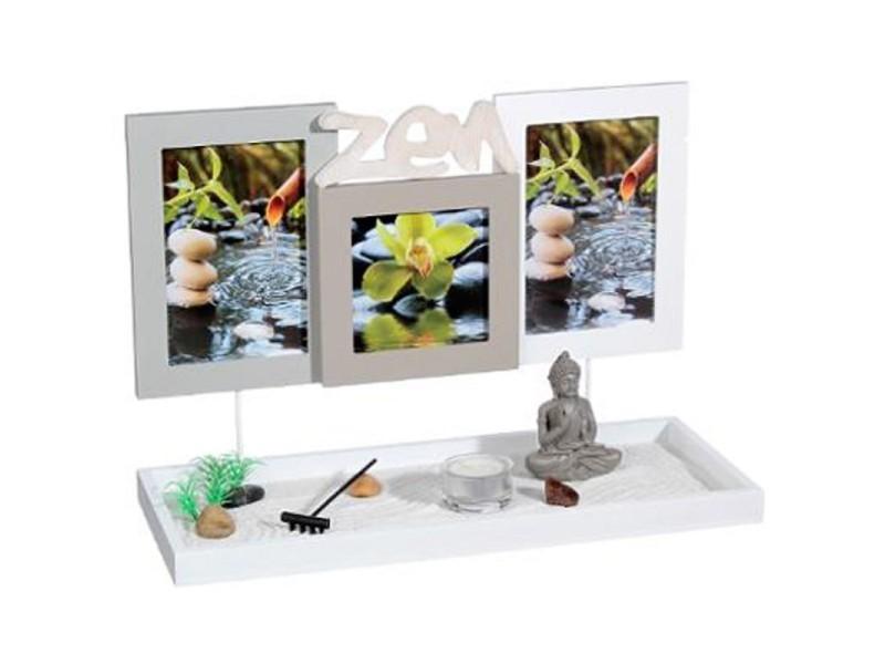 Jardin zen & 3 cadres photos 36cm blanc