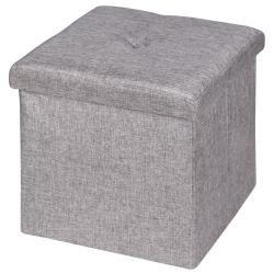 Tabouret de rangement revêtement lin gris