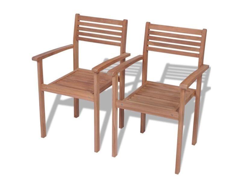 Vidaxl chaises empilables de jardin 2 pcs bois de teck solide 43036 ...