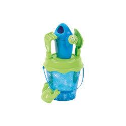Seau de plage garni : paillettes bleues 16 cm
