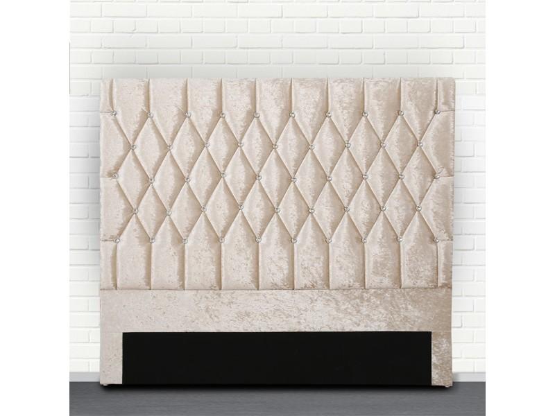 Tête de lit capitonné avec strass focus - beige tête de lit - 160 cm