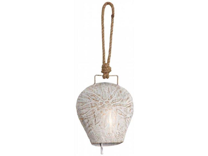 Cloche edelweiss en métal blanchi 17 cm