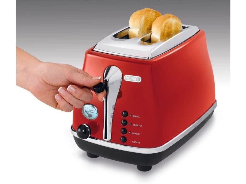 Grille pain avec 2 fentes 900w rouge