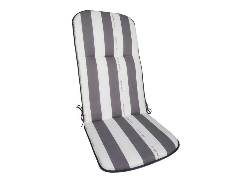 Coussin pour fauteuil de jardin multiposition 100% coton rayé gris ...