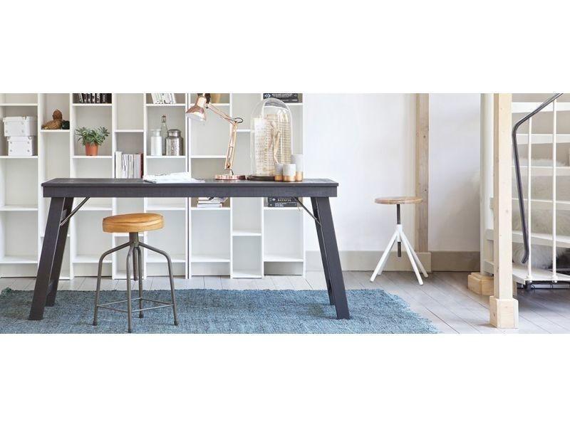 Bureau design bois brut noir 174cm study vente de bureau conforama