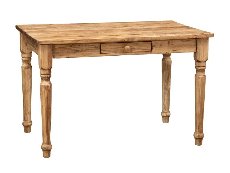 Table à rallonge en bois massif de tilleul, finition noyer