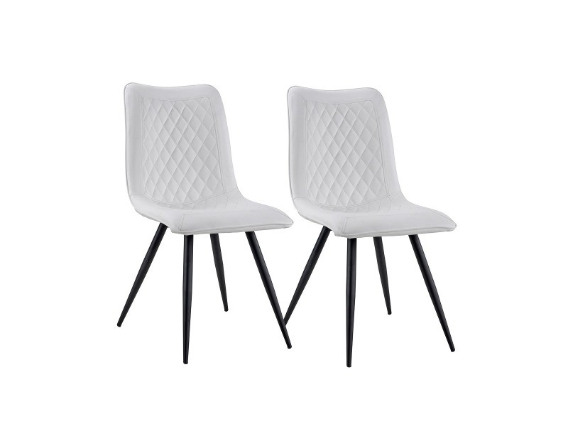 Anouck - set de 2 chaises - scandinaves modernes - simili cuir - coloris blanc