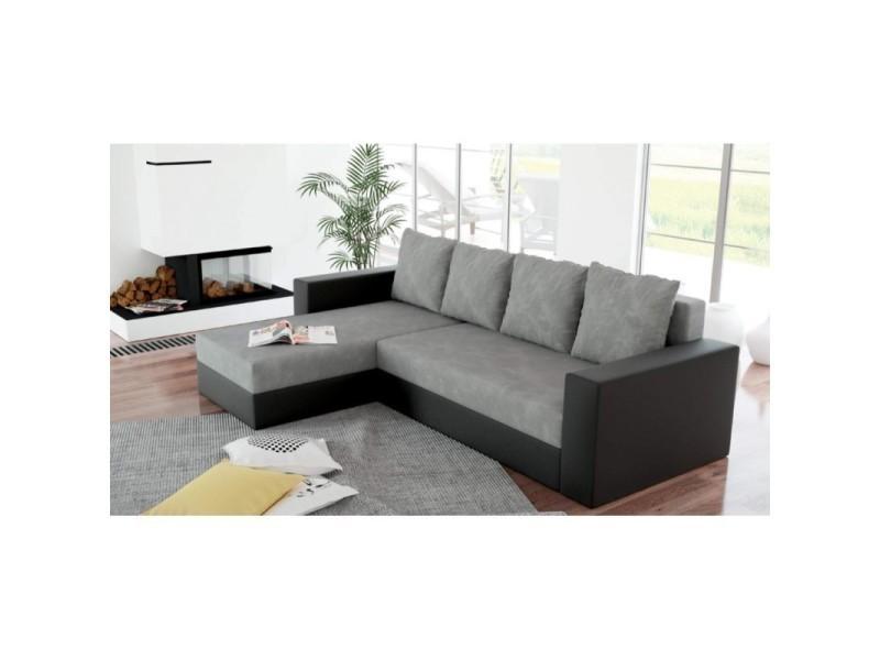 Canapé d'angle convertible lit et réversible arion gris et noir TENDENCIO