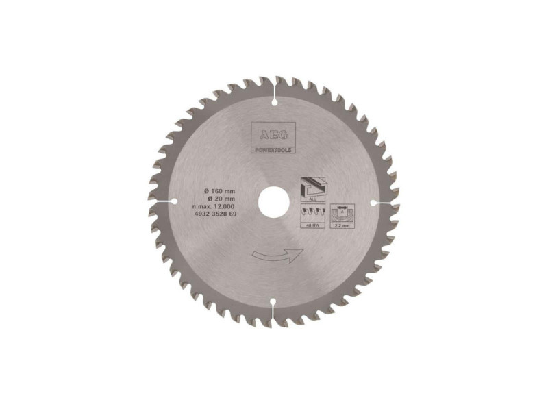 Lame scie circulaire aeg 2.2x160mm métaux 4932352869 4932352869