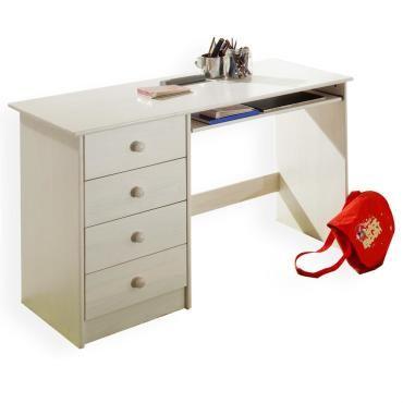 Bureau enfant 4 tiroirs lasuré blanc - Vente de IDIMEX - Conforama