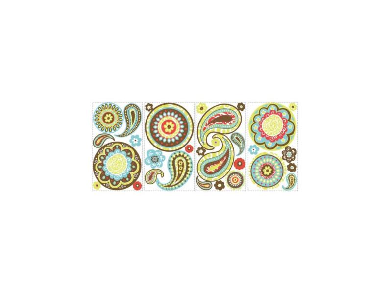 Roommates lot de 31 stickers motifs cachemire repositionnables