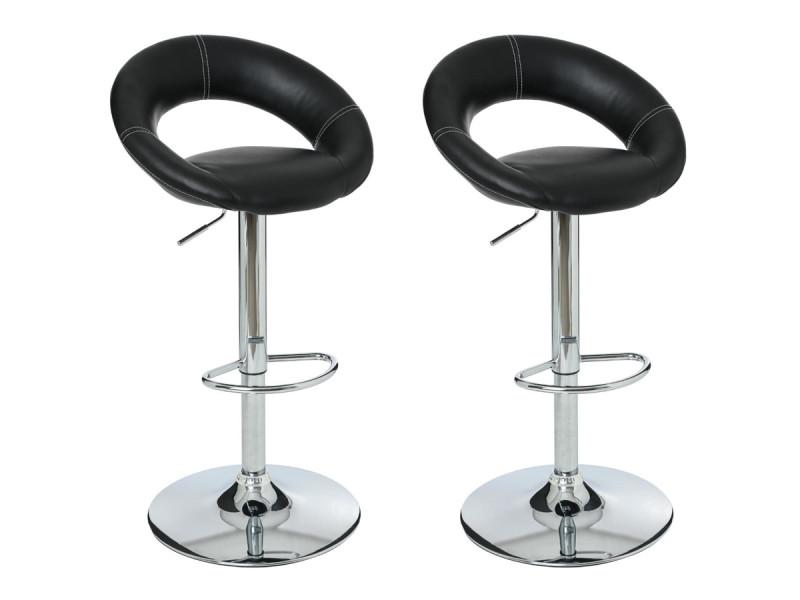 Lot de 2 tabourets de bar sasha - noir et blanc - atmosphera - Vente de  Chaise de cuisine - Conforama 59683da05260