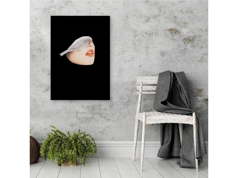 Tableau Xxl Woman With Bird Image Decor Black Imprimé Sur